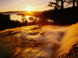 Waterfall at Sunrise in Eagle Creek Above Emerald Bay  Lake Tahoe  California  USA