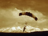Parachutist with Mountain Background
