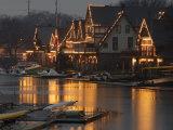 A Portion of Philadelphia's Boathouse Row is Shown at Dusk Thursday Papier Photo