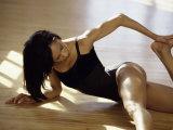 Brunette Stretching