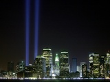 The Twin Lights Memorial Rises Above the New York City Skyline from the Waterfront