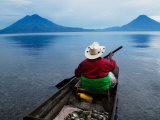 Man on Canoe in Lake Atitlan  Volcanoes of Toliman and San Pedro Pana Behind  Guatemala