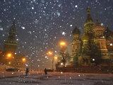 Pedestrians Pass by the Moscow Kremlin