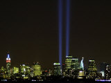 Two Beams of Light Light up the Sky Above Manhattan