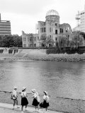 Bomb Dome and Schoolchildren  Hiroshima  Japan