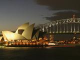 Sydney Opera House and Harbor Bridge at Night  Sydney  Australia