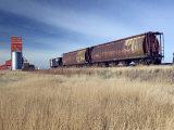 Grain Elevators and Wheat Train  Saskatchewan  Canada