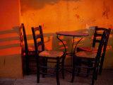 Sunset Light on Cafe Tables  Athens  Greece