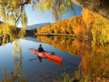 Red Kayak and Autumn Colours  Lake Benmore  South Island  New Zealand