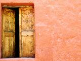 Carved Door and Painted Facade at Monastery of Santa Catalina  Arequipa  Peru