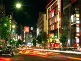 Moving Lights on Street of Roppongi at Night  Tokyo  Japan