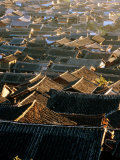 Naxi Architecture on Roofs of Old Town  Lijiang  China