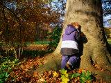 Boy Playing Hide-And-Seek in Frederiksberg  Copenhagen  Denmark