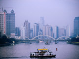 Ferry Crossing Pearl River at Dusk  Guangzhou  China
