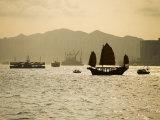 Duk Ling Junk Sailing on Hong Kong Harbour  Hong Kong  China