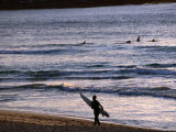 Surfers at Sunrise on Bondi Beach  Sydney  Australia