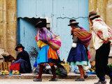 Family Walking Through Market  Lircay  Peru