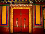 Decorated Doorways, Norbulingka (Dalai Lama's Summer Palace), Lhasa, China Papier Photo par Anthony Plummer
