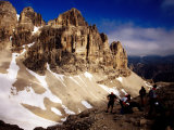 Hikers Resting at Bamberger Saddle  Gruppo Sella  Dolomites  Italy