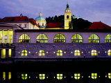 Plecnik Colonnade and Cathedral of St Nicholas at Dusk  Ljubljana  Slovenia