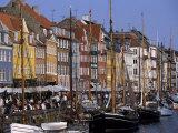 Nyhavn Boats and Cafes  Copenhagen  Denmark