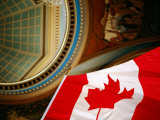 Interior of Parliament House with Canadian Flag in Foreground  Victoria  Canada