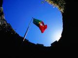 Portuguese Flag Inside Castelo Dos Mouros  Sintra  Portugal