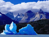 Icebergs in Lake Grey and Mountains of the Macizo Paine Massif  Patagonia  Chile