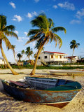 Skiff on Coral Beach Sand  Belize