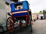 Girl in Horse-Drawn Carriage Taxi  Parque Cespedes  Bayamo  Cuba