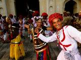 Rajastani Dance Troupe at Annual Elephant Festival Street Procession  Jaipur  India