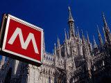 Metro Sign and Il Duomo  Milan  Italy