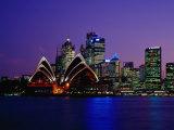 Opera House and City Skyline at Dusk  Sydney  Australia
