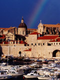 Rainbow Over Cathedral of the Assumption of the Virgin  Old Town and Harbour  Dubrovnik  Croatia