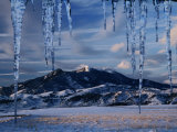 Icicles Hanging in Front of Mountain  Bridger Mountains  Gallatin Valley  USA