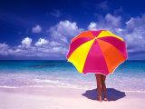 Female Holding a Colorful Beach Umbrella on Harbour Island  Bahamas
