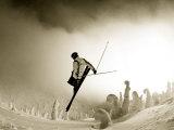 Ski Jump in Fog at Big Mountain Resort  near Whitefish  Montana  USA
