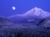 Moonrise over Mt Hood  Oregon  USA