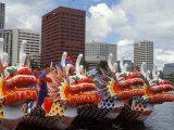Contestants Preparing Dragon Boats for the Rose Festival Dragon Boat Races  Portland  Oregon  USA