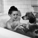 Margaret O'Brien and Her Spaniel Maggie Share a Bubble Bath