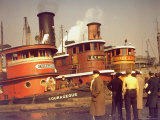 """Men at pier looking at 3 Tugboats  One Named """"Courageous"""" with Crewmen on Deck"""
