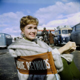 "Actress Debbie Reynolds at Airport During Filming of ""It Started with a Kiss"""