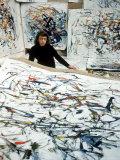 Portrait of American Born Painter Joan Mitchell in Her Studio