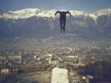 Skier Taking Off from the Bergisel Jump Hangs During Innsbruck Winter Olympics Competition