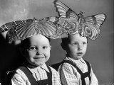 Darling Russian Kindergarten Children Wearing Paper Butterflies