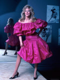 Actress Morgan Fairchild Wearing Pink Dress  Reflected by Mirror