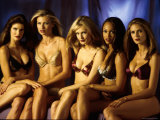 Model Tyra Banks and Other Victoria's Secret Models During Commercial Shoot