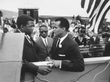 Sidney Poitier with Harry Belafonte  and Southern Sit in Leader Bernard Lee  at Civil Rights Rally