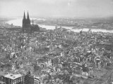 Aerial View of Cologne Showing Devastation of Allied Air Raids  Cathedral and Rhine River