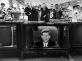 John F Kennedy's TV Announcement of Cuban Blockade During the Missile Crisis in a Department Store